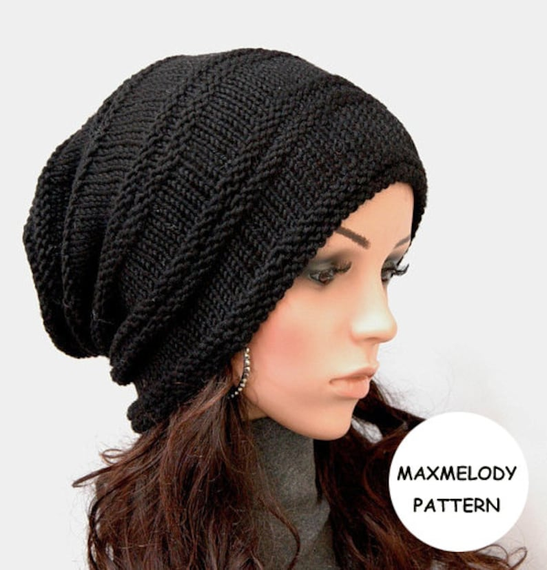 Instant Download Knitting Pattern  Oversized Slouchy Hat image 0