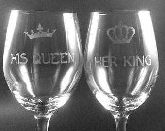 his queen, her king wine glasses