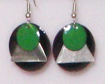Enameled 3-layer Black and Green Earrings