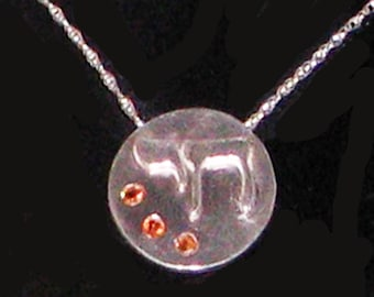 Fine Silver Chai Necklace with Padparadscha Sapphires
