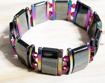 Hematite and Titanium-Coated Hematite Stretch Bracelet with Fuchsia Swarovski Crystal