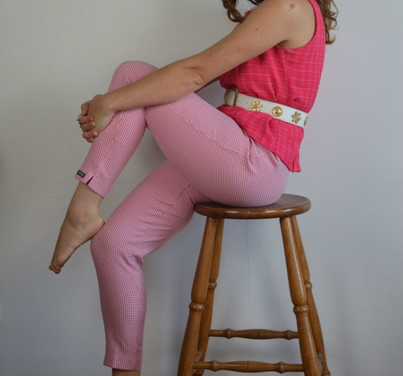 Vintage 1960s Style Pink Gingham Capri Pants