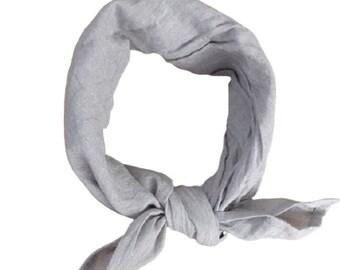Grey Linen Bandana for Men and Women Smooth Softened Linen for all seasons Unisex Linen Fashion Organic Flax by LinenBandanas