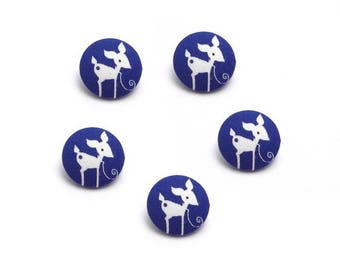 Fawn 24 mm White Navy blue fabric buttons