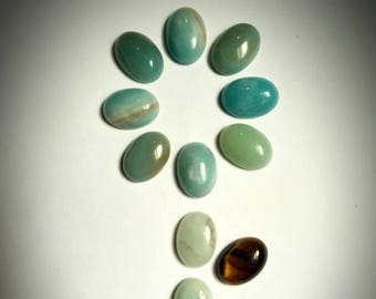 13 Cabs! Amazonite (11) & Tiger's Eye (2) Flat-Backed Cabochons for Jewelry Making