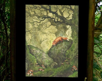 Fox ORIGINAL watercolor painting Celtic art Forest creatures, Fox lovers Gift, Mossy forest painting, cottagecore decor, Woodland creature