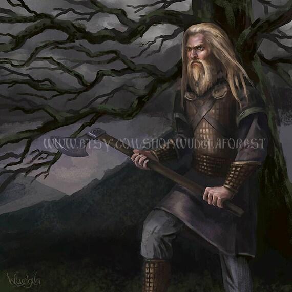 Viking Art Print Perun Druid Pagan Decor Heathen God Art Etsy