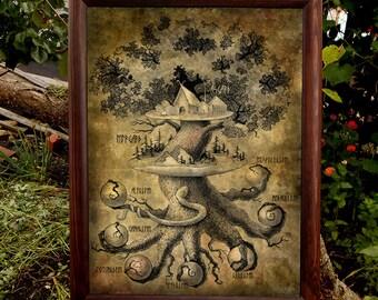 Yggdrasil Art PRINT Druid Asatru Woodland creatures Forest landscape Nature lover gift Mythology Pagan art Viking art Norse mythology Asgard