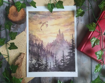 Dragon and castle ART PRINT Fantasy wall decor, Forest creatures, Dragon lovers Gift, cottagecore decor, Woodland creature