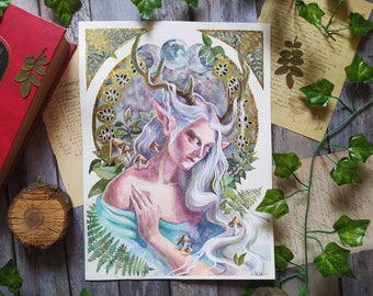 The Moon Fae ORIGINAL watercolor painting, Celtic art, Forest creatures, Fairy painting