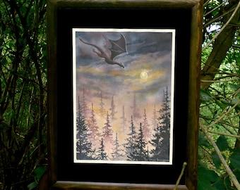 Dragon ORIGINAL watercolor painting, Fantasy art, Moon and Dragon painting, Fantasy creatures, flying Dragon art