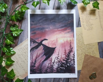 Flying Dragon in the forest ART PRINT Fantasy wall decor, Forest creatures, Dragon lovers Gift, cottagecore decor, Woodland creature
