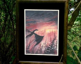 Sunset Dragon ORIGINAL watercolor painting, Fantasy art, Sunset Dragon painting, Fantasy creatures, flying Dragon art