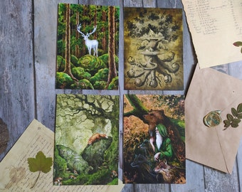 """Set of 4 postcards """"Old story"""", Pagan postcards, Viking art, Green witchcraft, A6 cards for postcrossing and house decoration"""