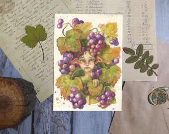 Grapes fairy postcard, Fantasy postcard, Nature lovers gift, fairy tale postcard, A6 cards for postcrossing and house decoration