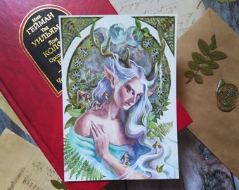 Moon fairy postcard, Fantasy postcard, Nature lovers gift, fairy tale postcard, A6 cards for postcrossing and house decoration