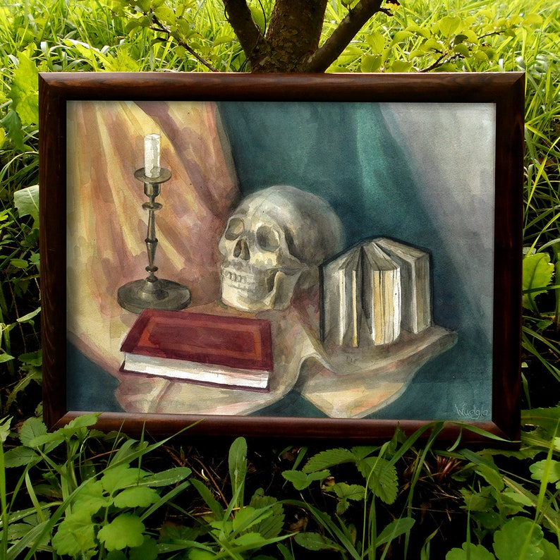 Druid Asatru Pagan art ORIGINAL watercolor painting Wiccan Still life  Woodland Skull Book Books Witch gift Goth Old school art Halloween