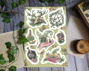 Green witch sticker set, Nature witch stickers, A5 Sticker sheet, Vinyl Stickers, Witchy Planner Stickers