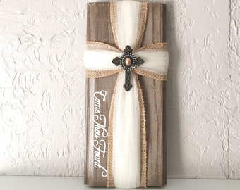 Rustic Wooden Cross - Come Thou Fount Rustic Wooden Cross - Come Thou Fount Rustic Wooden Cross - Christian Wall Cross  - Valentines Day