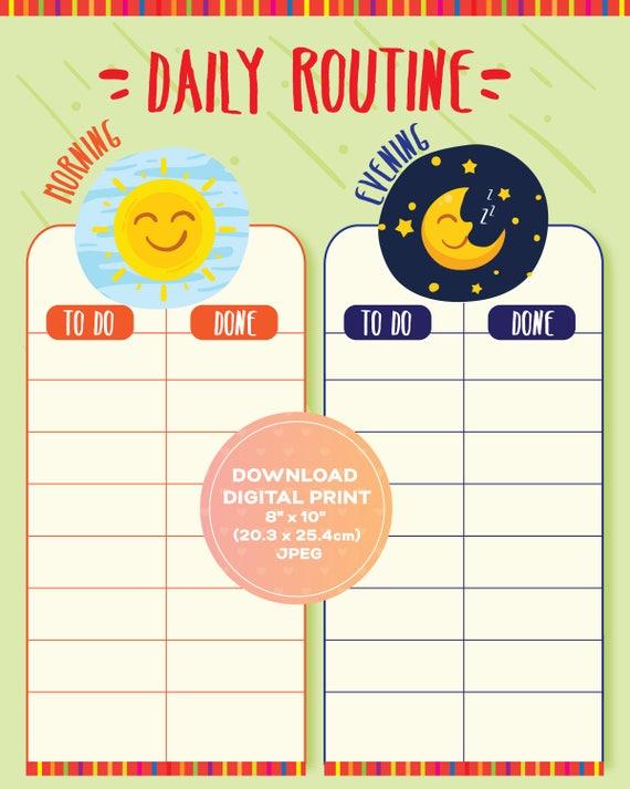 Tägliche Routine-tägliche Planer-Kinder mühsam Diagramm | Etsy