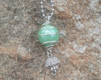 Silver Wire Wrapped Glass Marble with Hanging Charm