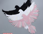 Black Pink White Big Bird Flying Patches,Appliques, Patches,Vintage Wings Patches,Birds Patches,Bag Patch,Birds Art,Eagle Applique Dove