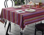 Europe Vintage Purple Red Stripes Rainbow Linen Table Cloth Fabric Tassels,Green Tablecloth Mediterranean Style Napkin Cotton Countryside