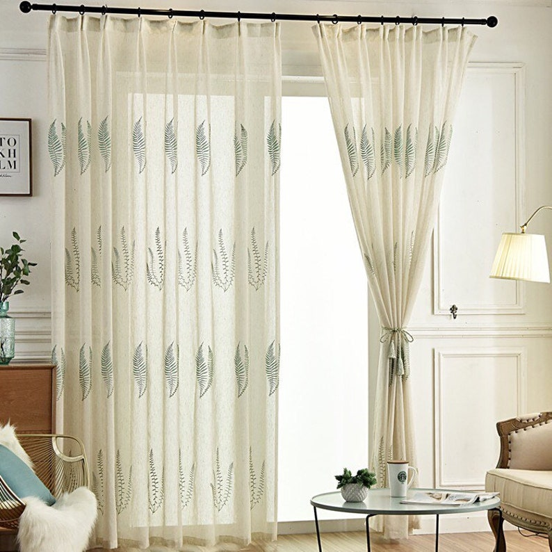 Beautiful big Green Leaves Embroidered on White Linen Sheer Curtain Fabric,Sheer Curtains Embroidered,Sheer Curtains for BackDrop