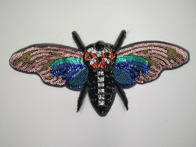 ec7bdaa18 Vintage Sequin Butterfly Embroidery PatchButterfly   Etsy