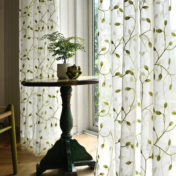 White Green Leaves Embroidery on White Lace Sheer Curtain Fabric,Lace Semi  Sheer Fabric by Yard,Bedroom Curtain,Girl Guest Room Curtains