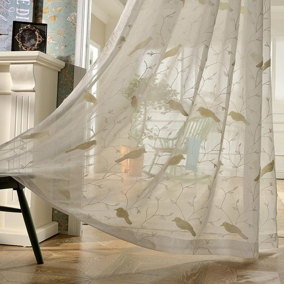 Ivory Furry Bird Embroidered on Lace Sheer Curtain Living Room Guest Room Panels