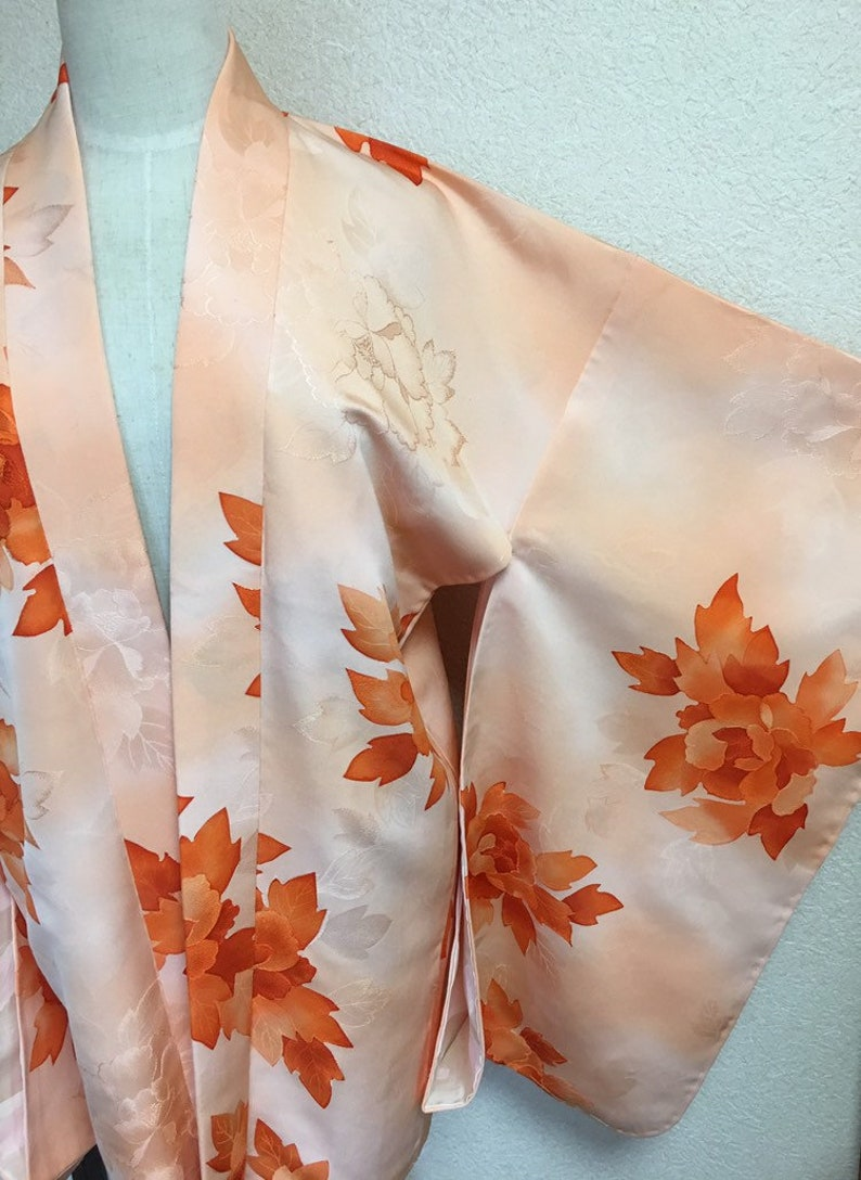 3d6ed680cb8 Luxurious Mild Orange Silk Kimono Jacket Women's Japanese | Etsy