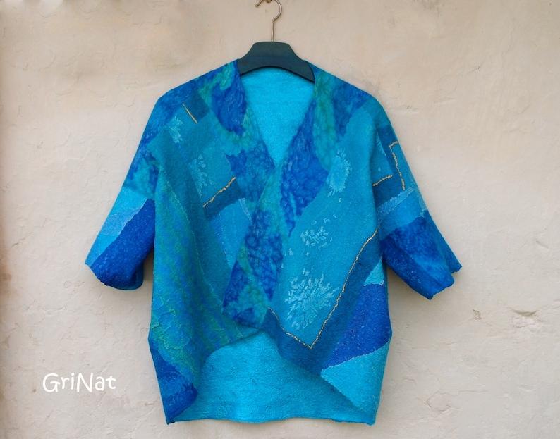 Turquoise cocoon cardigan  Women Felted jacket  Wool waistcoat one of a kind vest medium size women vest women wool vest felted cape kimono