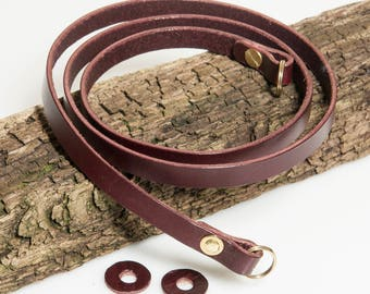 10mm Rich Burgundy Leather Camera Strap with solid brass rivets.