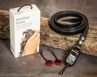 11mm Hand made leather camera strap with Peak Design Anchor Links