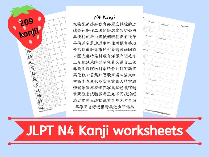 JLPT N4 Kanji Printable Practice Worksheet Set Download