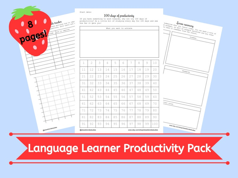 Language learner productivity planner pack student organisation 8 pages  printable download