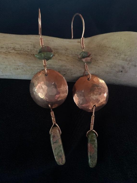 Handforged Copper and Okanite stone Earrings