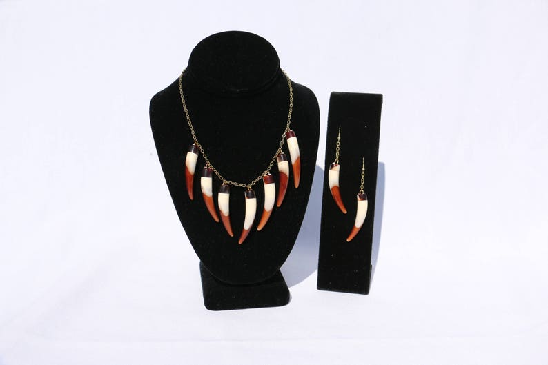handmade Faux bear tooth necklace and earrings set