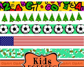 Kids Page Banner Clip Art Birthday Party Border Page Etsy