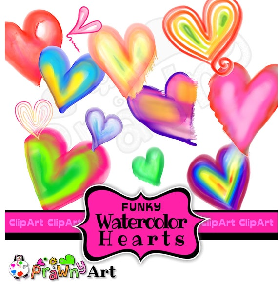 Watercolor Heart ClipArt - Commercial Use - Free Bonus Watercolour Papers -  Hand Painted - Card Making Decorative Elements - Digital Art