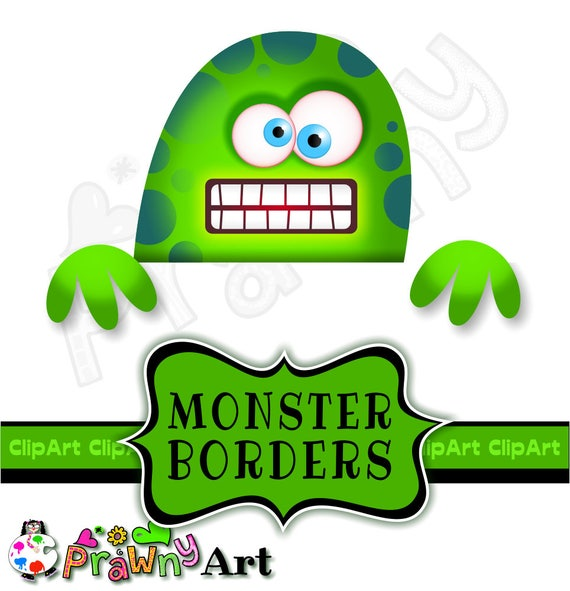 Cartoon Monster Border Clip Art Kids Page Design Elements Etsy