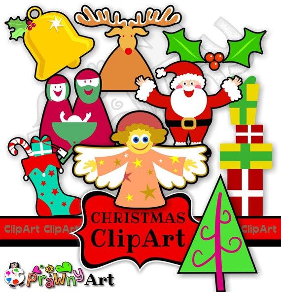 Christmas Holidays Clipart.Christmas Clip Art Icon Set Holiday Clipart Santa Claus Clip Art Nativity Clipart Baby Jesus Clip Art Angel Clipart Presents