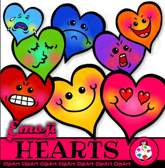 Emoji Happy Heart Clip Art - Emoticons - Smile - Faces - Smiling - Happy -  Hand Drawn Doodle Love Hearts - Expressions - Occasions - Romance