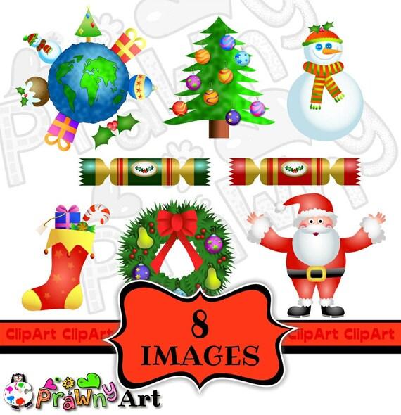 Christmas Holidays Clipart.Christmas Clip Art Holiday Clipart Set Chritmas Wreath Clip Art Winter Snowman Santa Claus Clipart Christmas Tree Stocking Clip