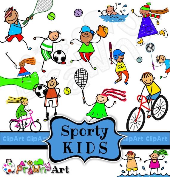 Sport Kinder Clipart Baseball Clipart Sportliche Kinder Clipart Fussball Kinder Badminton Clipart Tennis Kinder Digitale Grafiken Doodle