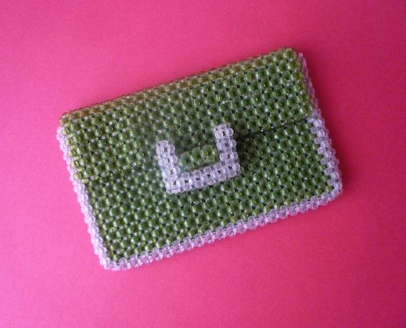 Bright green 1960s plastic bead clutch