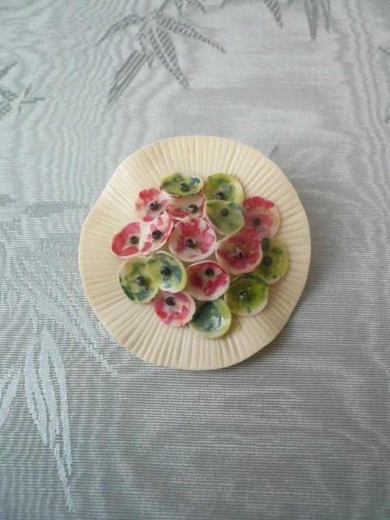 1930s celluloid flower bouquet dress clip