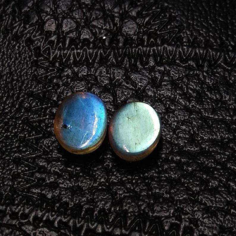 Natural Labradorite,Labradorite Faceted Blue Fire Gemstone,Labradorite Oval Matched Pair,Labradorite Cabochon Gemstone,9x7x4 mm,4.30 Cts