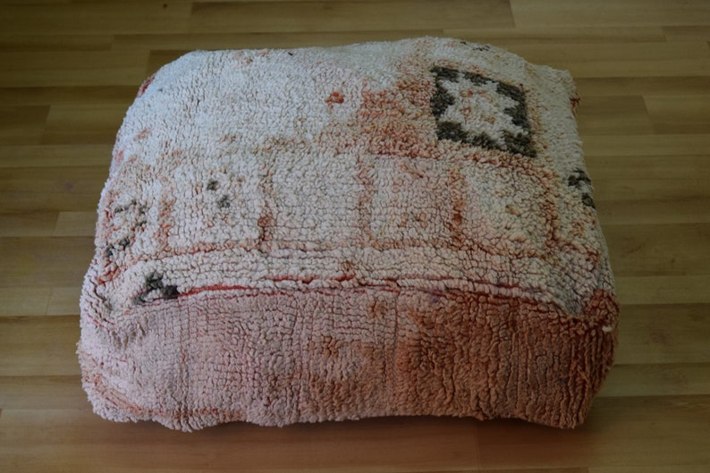 Moroccan pouf Moroccan design Gift for her Berber art Handmade poufs Home chair Ottoman square furniture Vintage kilim pouf Footstool Decor